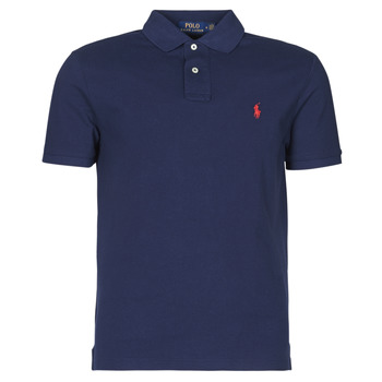 material Men short-sleeved polo shirts Polo Ralph Lauren POLO AJUSTE DROIT EN COTON BASIC MESH LOGO PONY PLAYER Marine