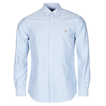 material Men long-sleeved shirts Polo Ralph Lauren CHEMISE AJUSTEE EN OXFORD COL BOUTONNE  LOGO PONY PLAYER MULTICO Blue
