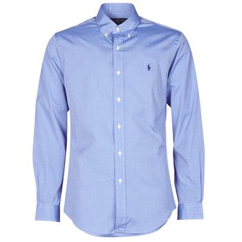 material Men long-sleeved shirts Polo Ralph Lauren CHEMISE AJUSTEE EN POPLINE DE COTON COL BOUTONNE  LOGO PONY PLAY Blue
