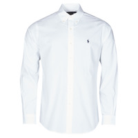 material Men long-sleeved shirts Polo Ralph Lauren CHEMISE AJUSTEE EN POPLINE DE COTON COL BOUTONNE  LOGO PONY PLAY White