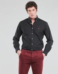 material Men long-sleeved shirts Polo Ralph Lauren CHEMISE AJUSTEE EN POPLINE DE COTON COL BOUTONNE  LOGO PONY PLAY Black