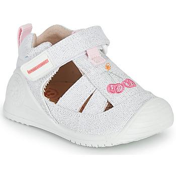 Shoes Girl Sandals Biomecanics 212213 Silver / White