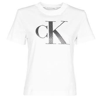 material Women short-sleeved t-shirts Calvin Klein Jeans SATIN BONDED FILLED CK TEE White