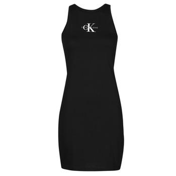 material Women Short Dresses Calvin Klein Jeans MONOGRAM TANK DRESS Black