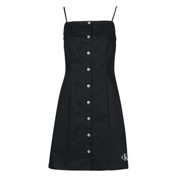 material Women Short Dresses Calvin Klein Jeans COTTON TWILL BUTTON DRESS Black