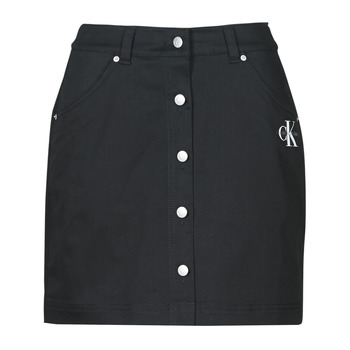 material Women Skirts Calvin Klein Jeans COTTON TWILL MINI SKIRT Black