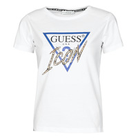 material Women short-sleeved t-shirts Guess SS CN ICON TEE White