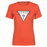 material Women short-sleeved t-shirts Guess SS CN ORIGINAL TEE Red