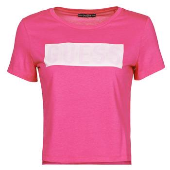 material Women short-sleeved t-shirts Guess SS CN ADRIA TEE Fuschia