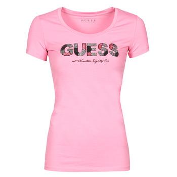 material Women short-sleeved t-shirts Guess SS RN MARTINA TEE Pink