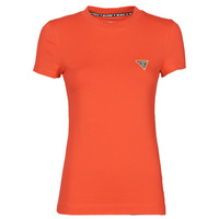 material Women short-sleeved t-shirts Guess SS CN MINI TRIANGLE TEE Red