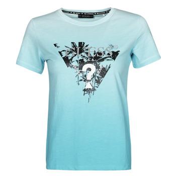 material Women short-sleeved t-shirts Guess SS CN PALMS TEE Blue
