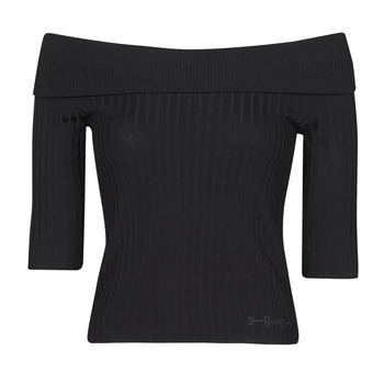 material Women Long sleeved shirts Guess DAYNA OFF SHOULDER SWTR Black