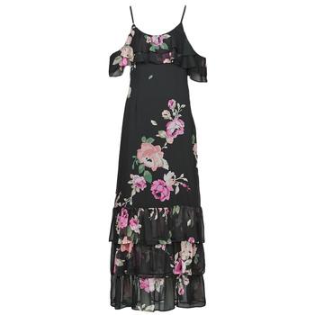 material Women Long Dresses Guess AGATHE DRESS Black / Multicolour