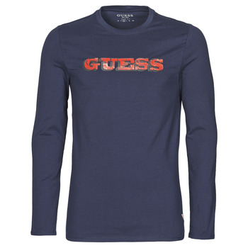 material Men Long sleeved shirts Guess GUESS PROMO CN LS TEE Marine