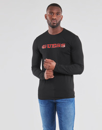 material Men Long sleeved shirts Guess GUESS PROMO CN LS TEE Black