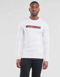 material Men Long sleeved shirts Guess GUESS PROMO CN LS TEE White