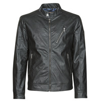 material Men Leather jackets / Imitation leather Guess ECO LEATER VINTAGE BIKER Black