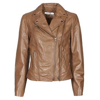 material Women Leather jackets / Imitation leather Naf Naf CAMILLA Cognac