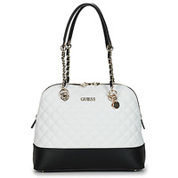Bags Women Handbags Guess ILLY DOME SATCHEL Black / White