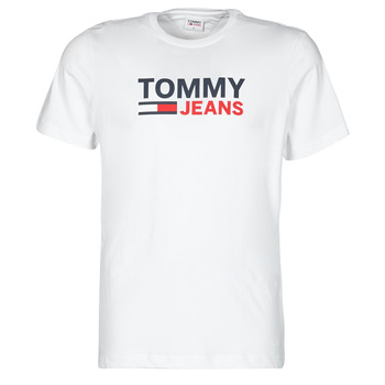 material Men short-sleeved t-shirts Tommy Jeans TJM CORP LOGO TEE White
