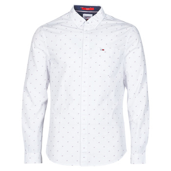 material Men long-sleeved shirts Tommy Jeans TJM DOBBY SHIRT White