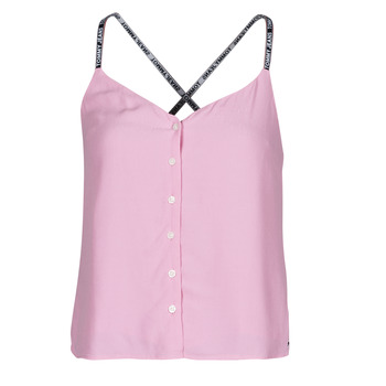 material Women Blouses Tommy Jeans TJW CAMI TOP BUTTON THRU Pink