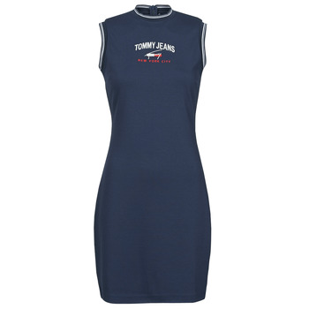 material Women Short Dresses Tommy Jeans TJW TIMELESS SCRIPT DRESS Marine