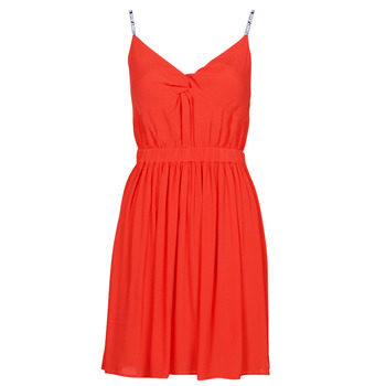 material Women Short Dresses Tommy Jeans TJW ESSENTIAL STRAP DRESS Red