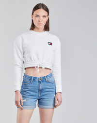 material Women sweaters Tommy Jeans TJW SUPER CROPPED BADGE CREW White