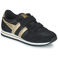 Shoes Girl Low top trainers Gola DAYTONA MIRROR VELCRO Black / Gold