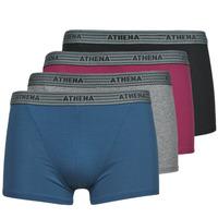 Underwear Men Boxer shorts Athena BASIC COTON  X4 Grey / Bordeaux / Blue / Black