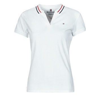 material Women short-sleeved polo shirts Tommy Hilfiger SLIM TIPPING POLO SS White