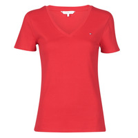 material Women short-sleeved t-shirts Tommy Hilfiger SP SLIM SOLID V-NK TOP SS Red