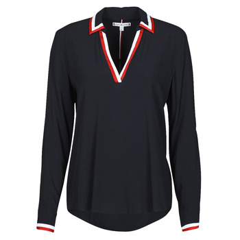 material Women Blouses Tommy Hilfiger VISCOSE HER POPOVER BLOUSE LS Marine
