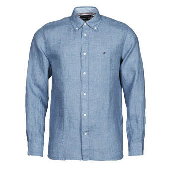 material Men long-sleeved shirts Tommy Hilfiger PIGMENT DYED LINEN SHIRT Blue