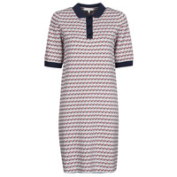 material Women Short Dresses Tommy Hilfiger TH CUBE SHIFT SHORT DRESS SS White / Red / Marine