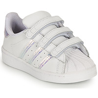 Shoes Girl Low top trainers adidas Originals SUPERSTAR CF I White / Iridescent