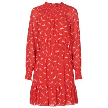 material Women Short Dresses MICHAEL Michael Kors SIGNATRE LOGO SMCK DR Red