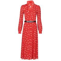 material Women Long Dresses MICHAEL Michael Kors SIGNTRE LOGO SHRT DRS Red