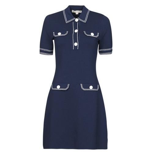 material Women Short Dresses MICHAEL Michael Kors CONTRAST STITCH BUTTON DRESS Marine