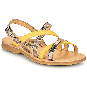 Shoes Girl Sandals Citrouille et Compagnie GENTOU Yellow / Silver