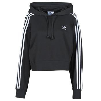 material Women sweaters adidas Originals SHORT HOODIE Black