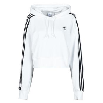 material Women sweaters adidas Originals SHORT HOODIE White