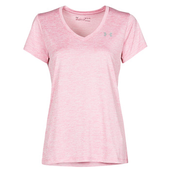 material Women short-sleeved t-shirts Under Armour TECH SSV Pink / Clear