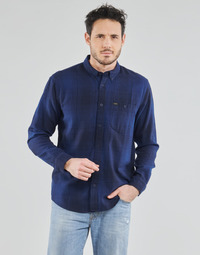 material Men long-sleeved shirts Lee RIVETED SHIRT WASHED BLUE Blue