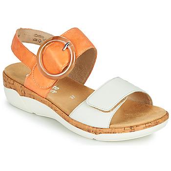 Shoes Women Sandals Remonte Dorndorf ORAN Orange / White