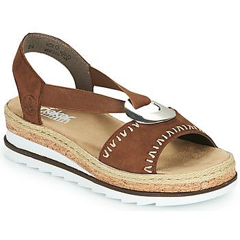 Shoes Women Sandals Rieker FARRO Brown