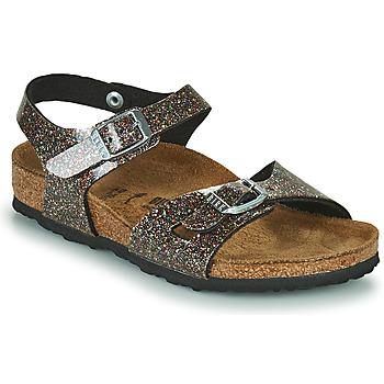 Shoes Girl Sandals Birkenstock RIO Black / Gold