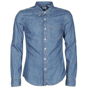 material Men long-sleeved shirts Levi's SUNSET 1 PKT SLIM Blue